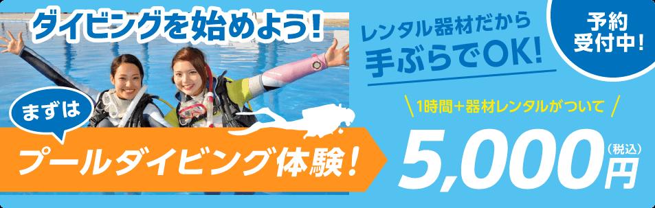 ダイビングを始めよう!まずはプールダイビング体験!ご予約受付中!1時間+器材レンタルがついて 5,000円(税込) [手ぶらで始められる!レンタル器材]ウェットスーツ・グローブ BCD・レギュレーターセット マスク・スノーケル/フィン・ブーツ